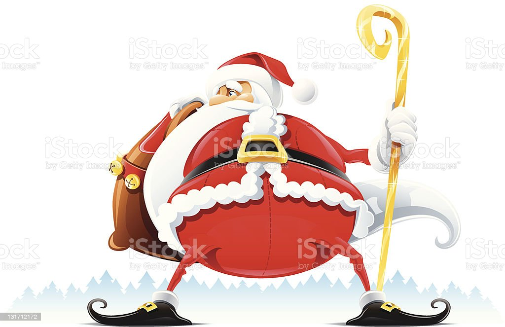 Santa Claus with sack and staff royalty-free stock vector art