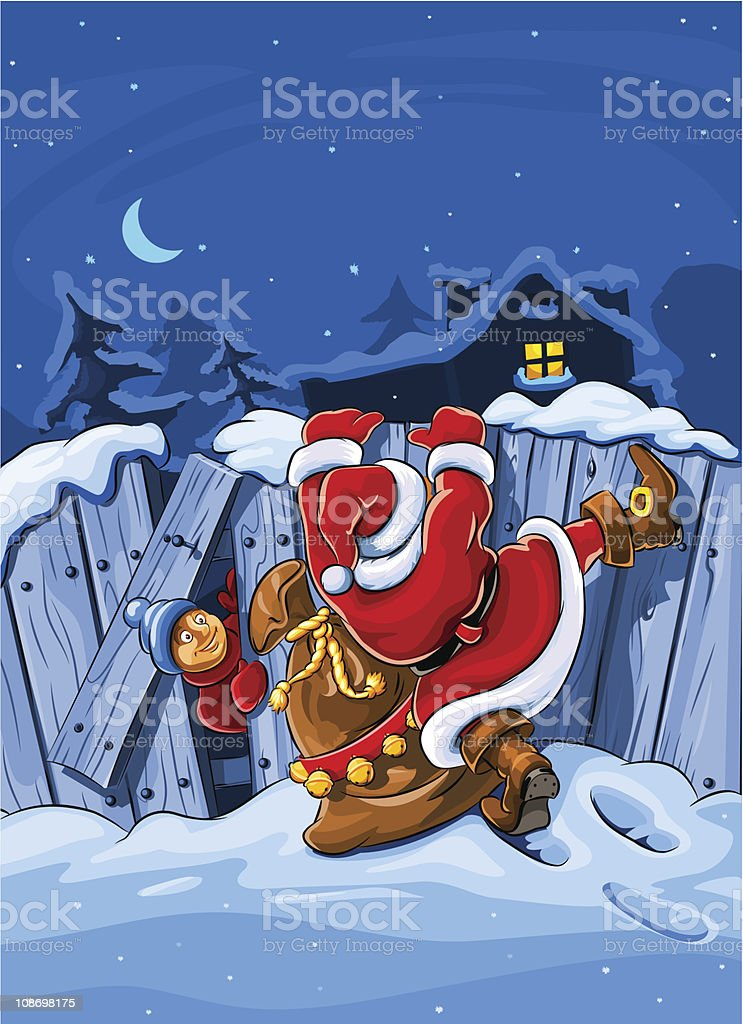 santa claus with sack climbs over big fence royalty-free stock vector art