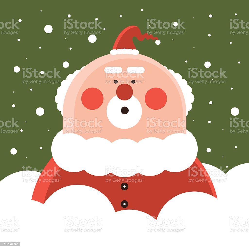 Santa Claus with snow, only upper body stuck out vector art illustration