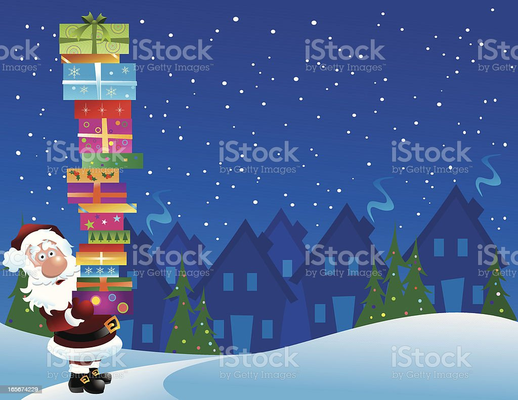 Santa Claus with Stack of Gifts royalty-free stock vector art
