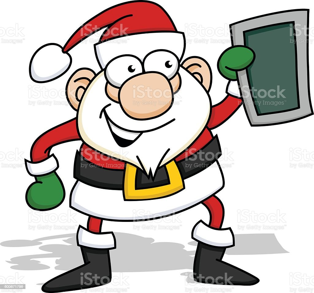 Santa Claus with Tablet vector art illustration