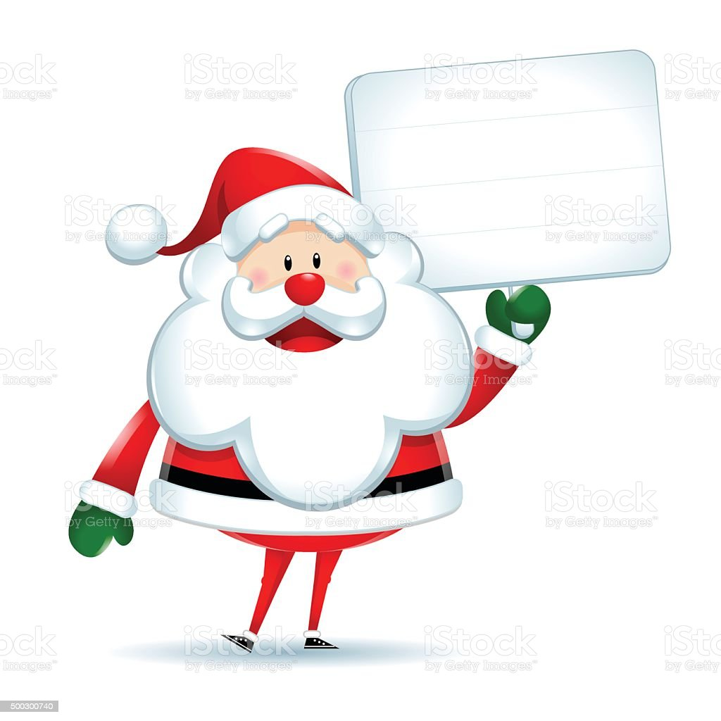 Santa Claus with white sign vector art illustration