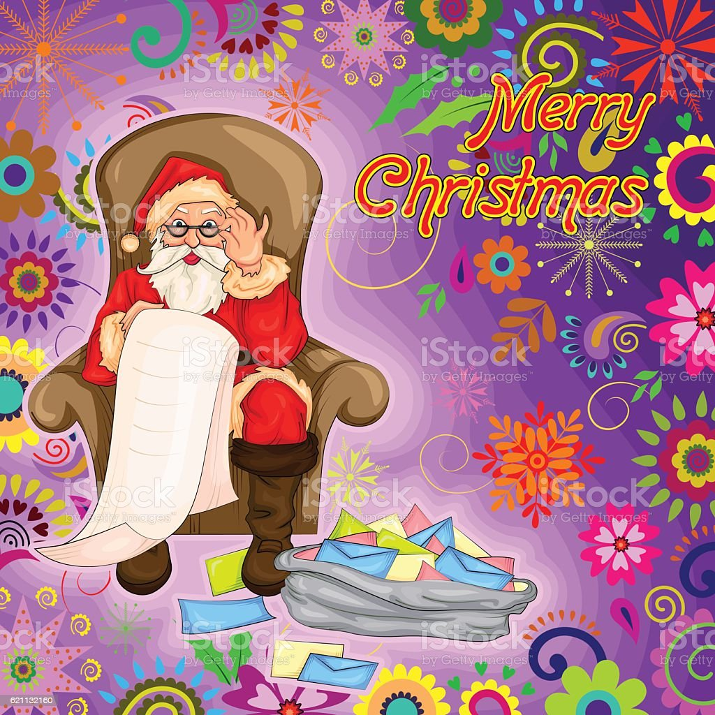 Santa Claus with wishlist and letter for Merry Christmas Holiday vector art illustration