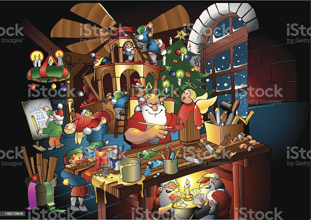 Santa Claus Working in Shop with Elves vector art illustration