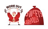 Santa Claus workout in GYM. Merry Christmas and Happy New