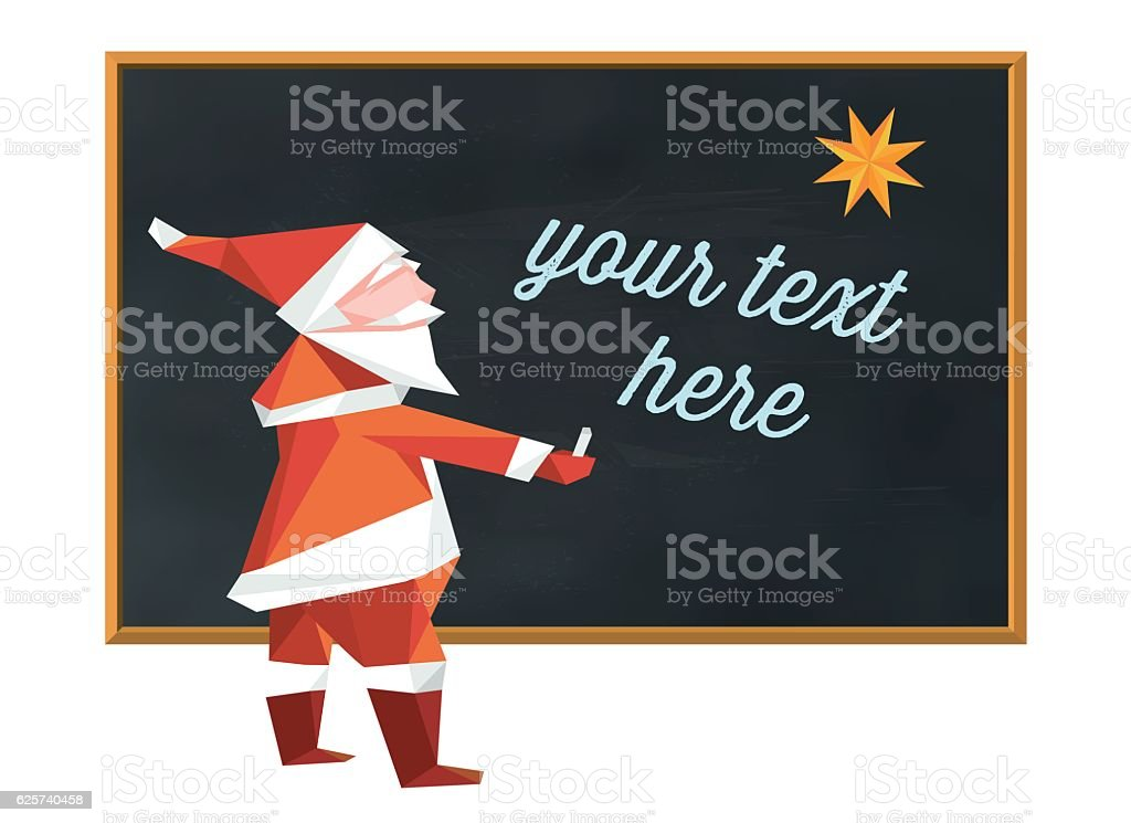 santa claus writing on blackboard with copy space for text vector art illustration