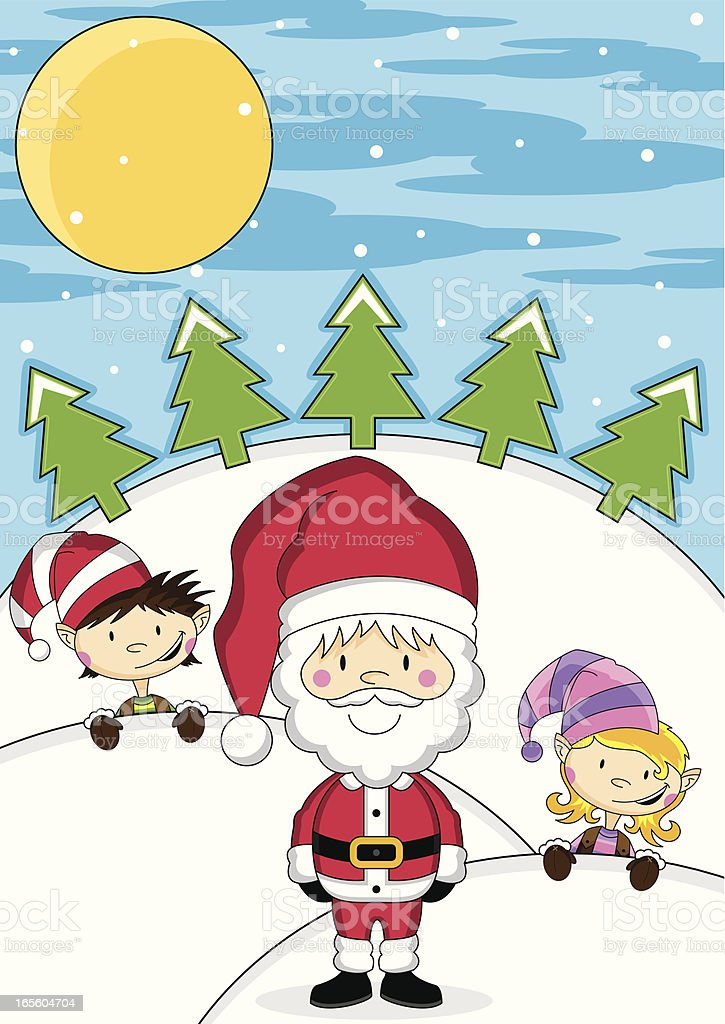 Santa Clause and Elves royalty-free stock vector art