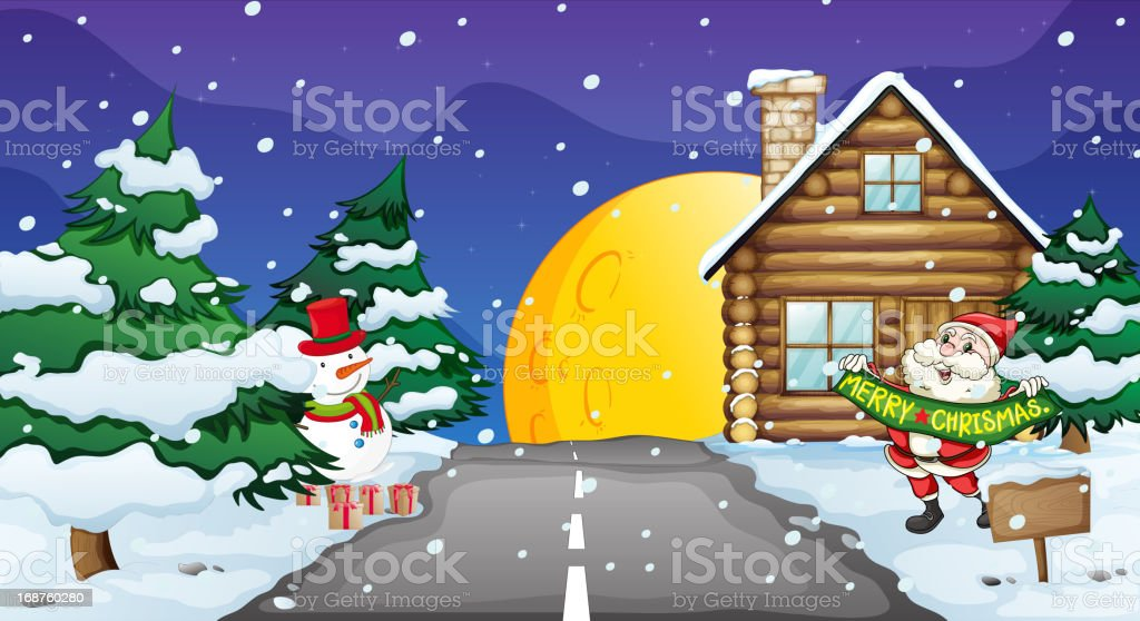 Santa clause and snowman royalty-free stock vector art