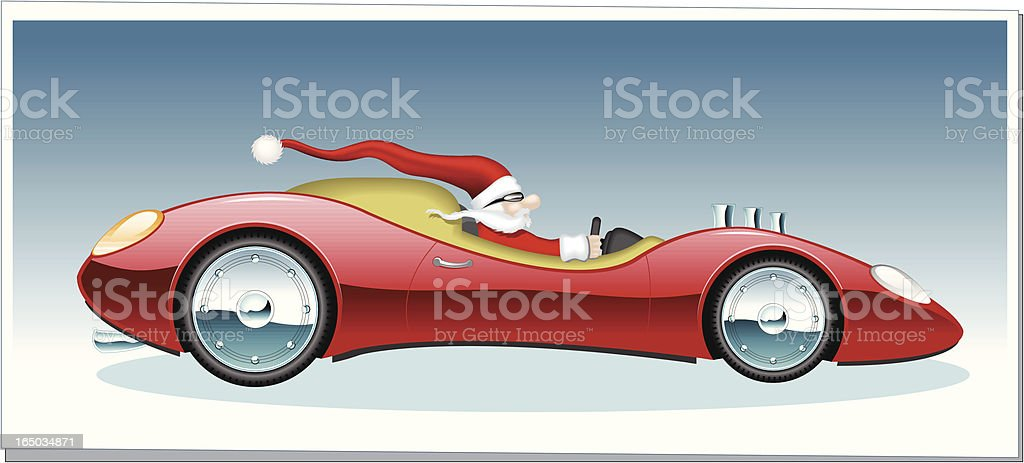 Santa Clause in a bright red sports car vector art illustration