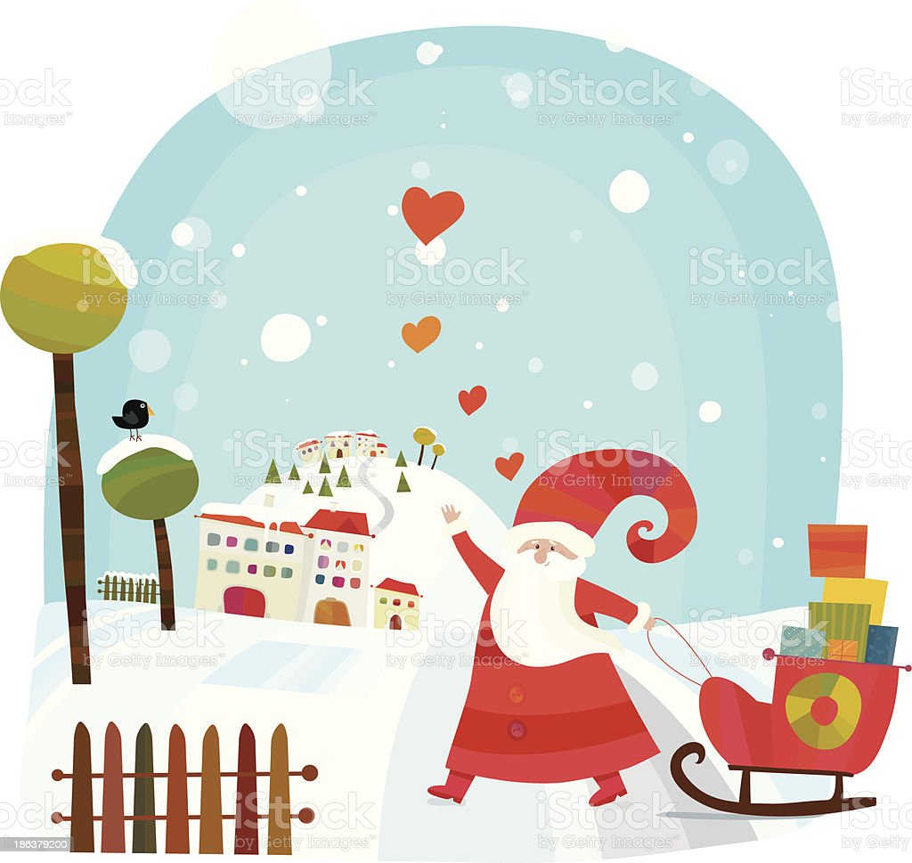 Santa Clause Is Coming To Town royalty-free stock vector art