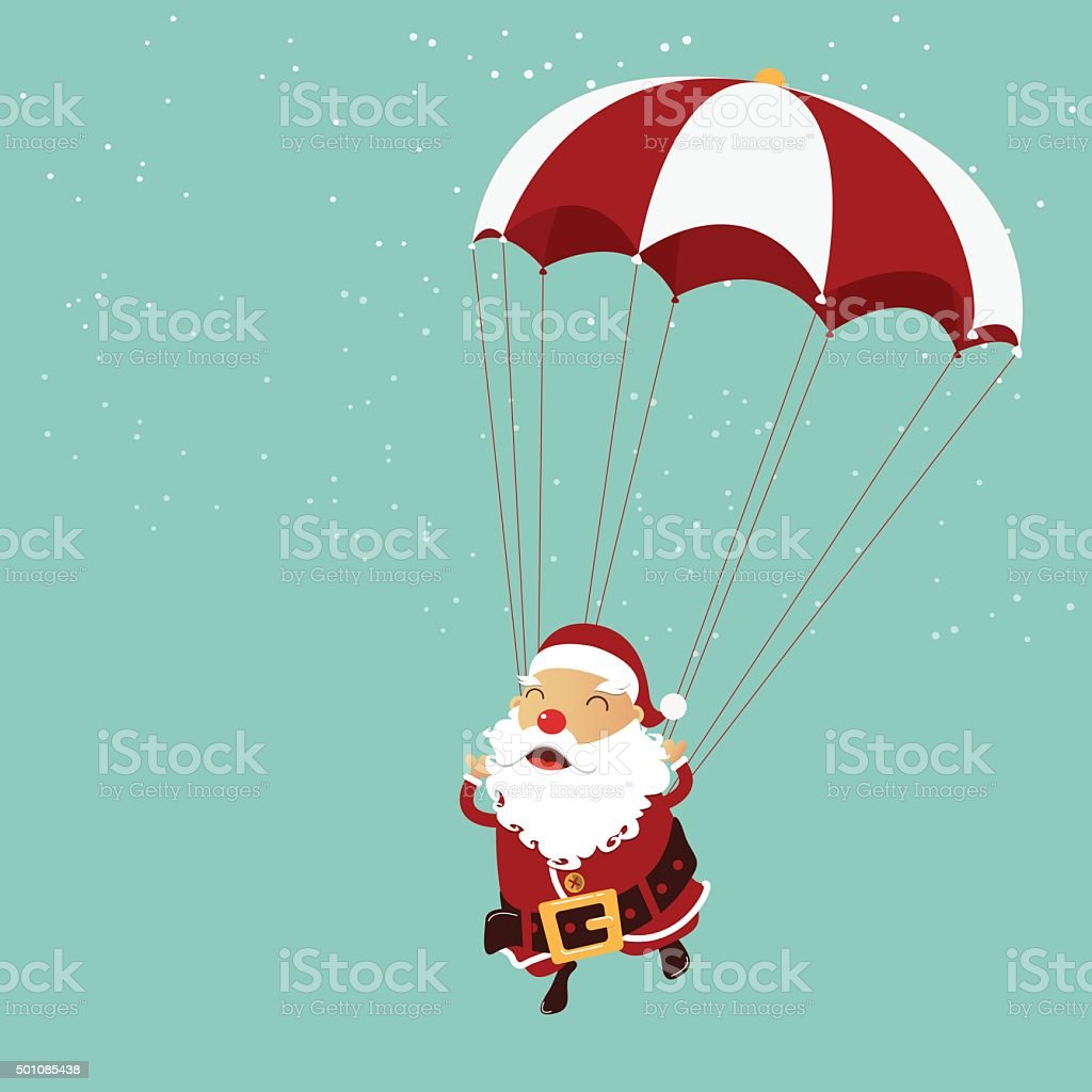 Santa clause is parachuting in the air. Christmas ornament. vector art illustration