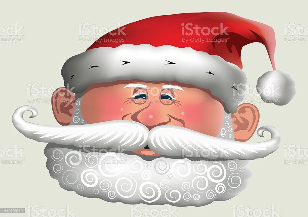 Santa Clause with Curly Beard vector art illustration