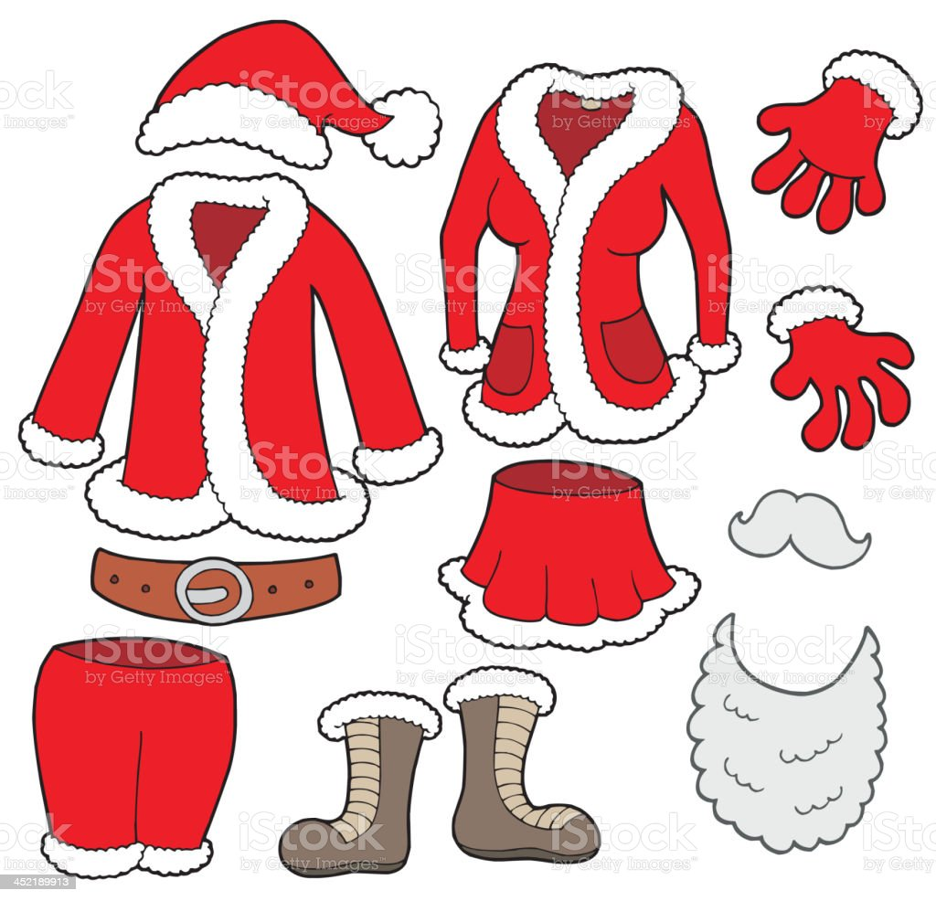 Santa Clauses clothes collection royalty-free stock vector art