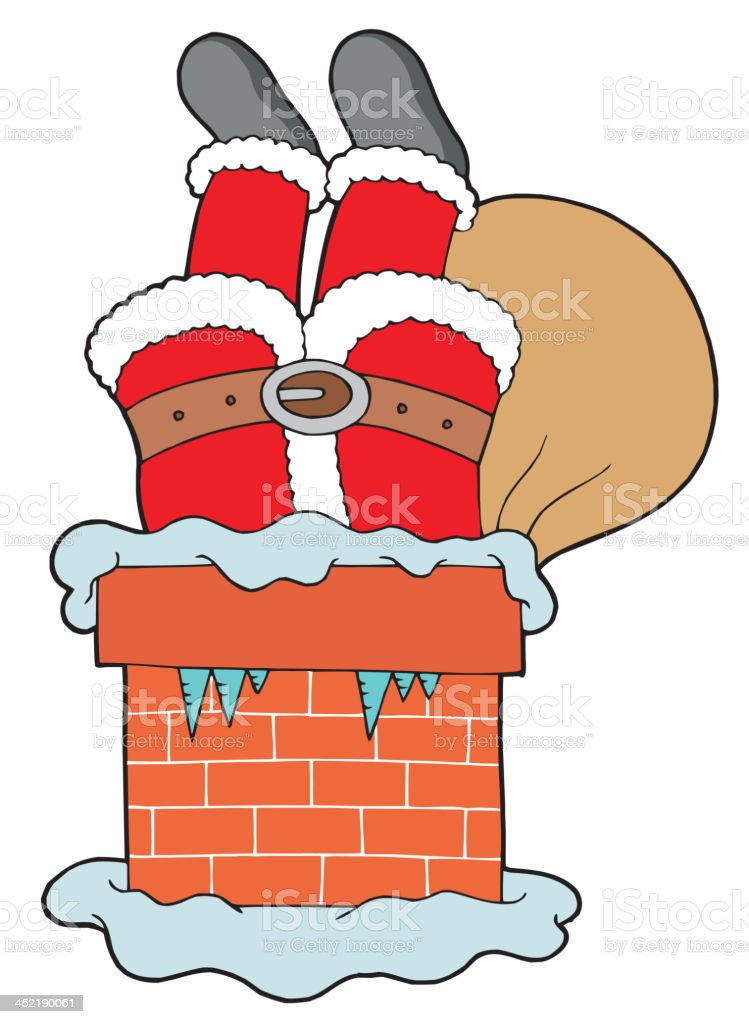 Santa Clauses legs with chimney royalty-free stock vector art