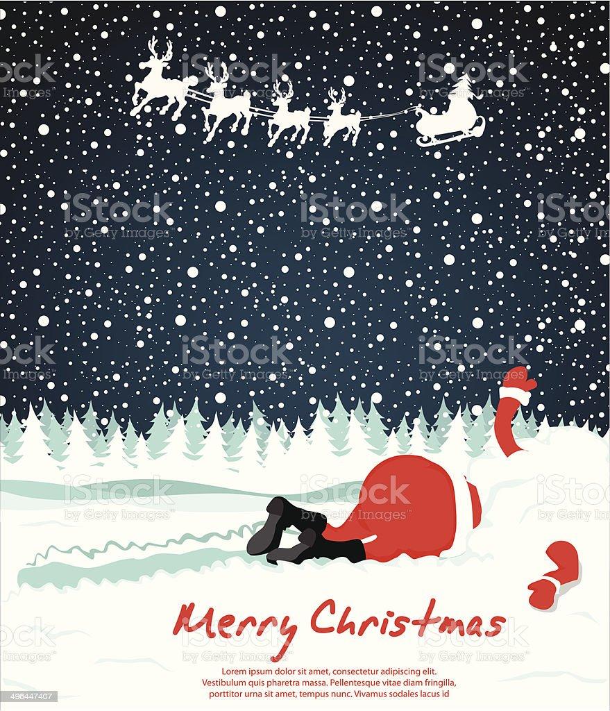 Santa crashed dans la neige stock vecteur libres de droits libre de droits