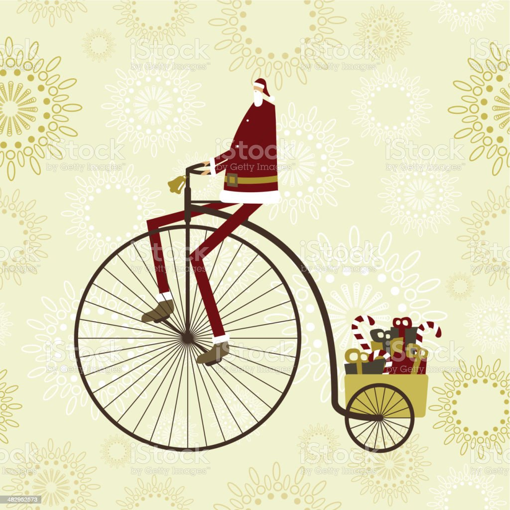 Santa cycling to delivery royalty-free stock vector art