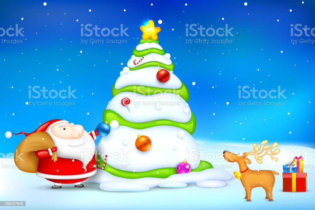 Santa decorating Christmas Tree royalty-free stock vector art
