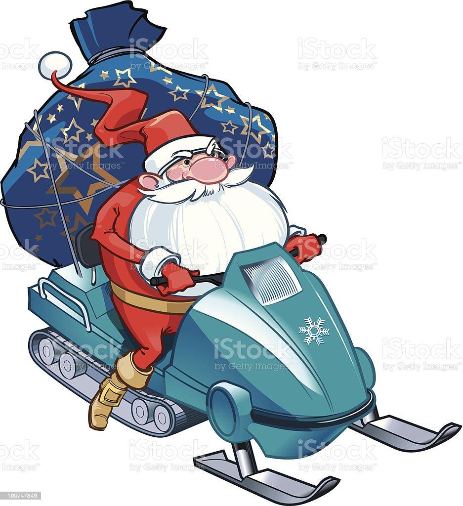 Santa delivering gifts vector art illustration