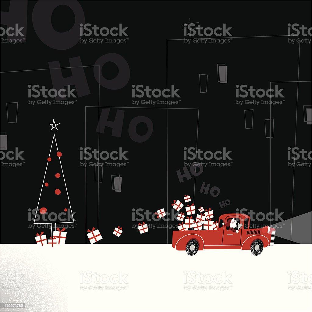 Santa delivering presents truck retro city christmas illustration vector minimil royalty-free stock vector art