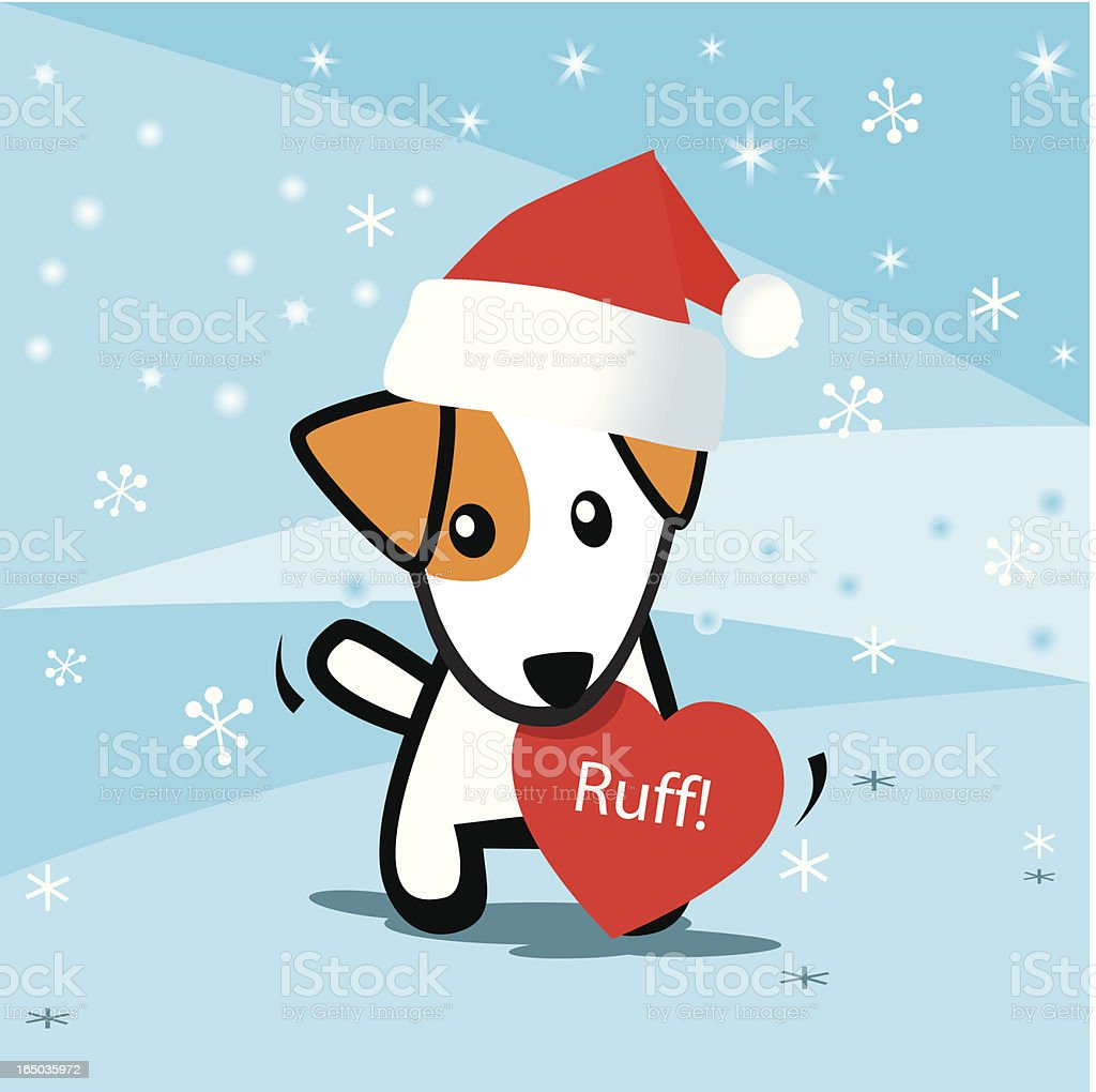 Santa dog with love in mouth royalty-free stock vector art