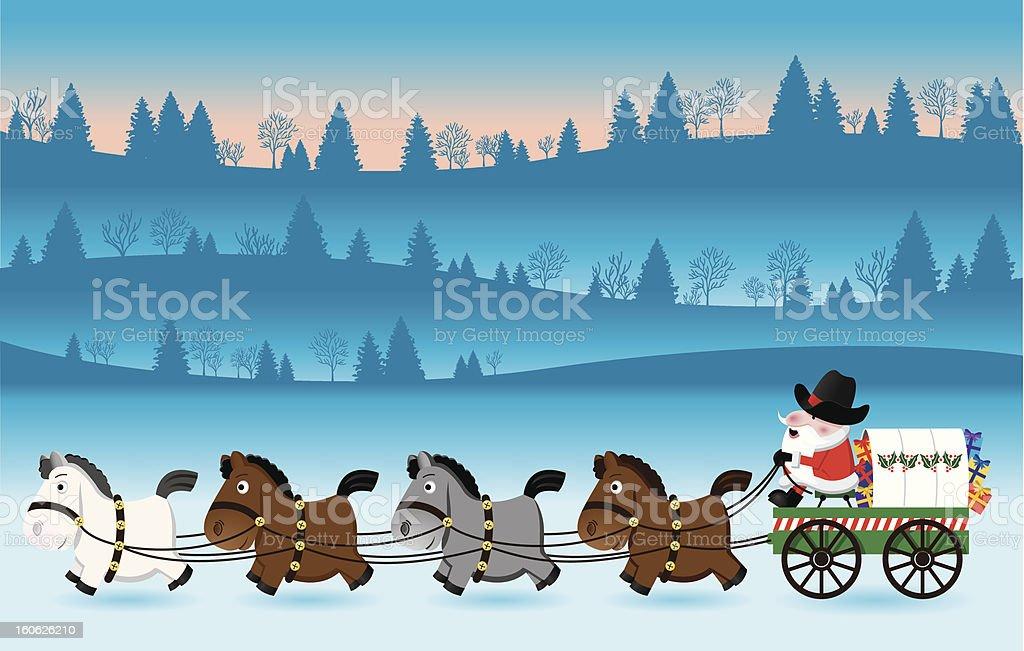 Santa Driving Chuckwagon vector art illustration