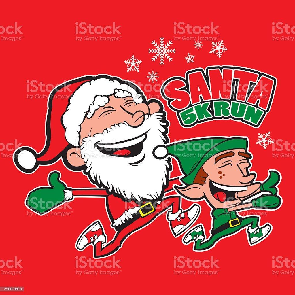 Santa Elf 5K Run vector art illustration