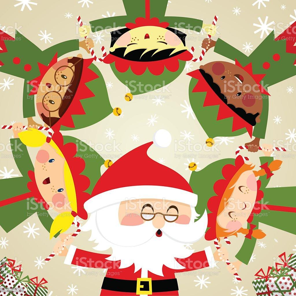 santa & elves vector art illustration