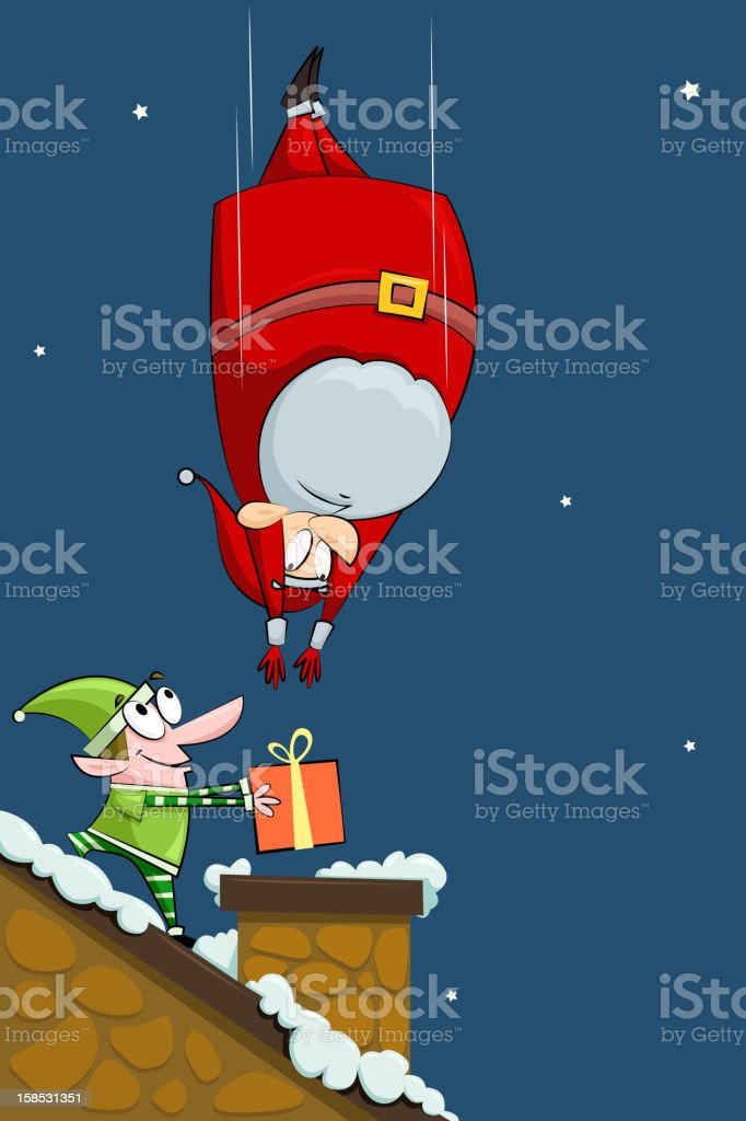 Santa falling in Chimney with Elf royalty-free stock vector art