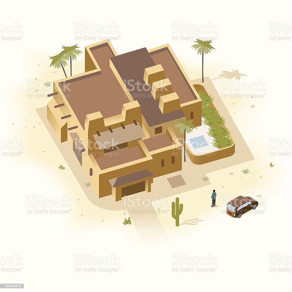 Santa Fe Sandstone House royalty-free stock vector art