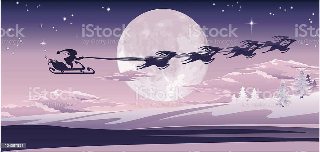 Santa flying in his sled royalty-free stock vector art