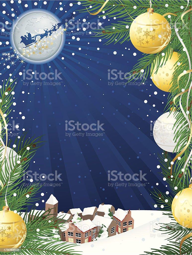 Santa Flying past the Moon royalty-free stock vector art