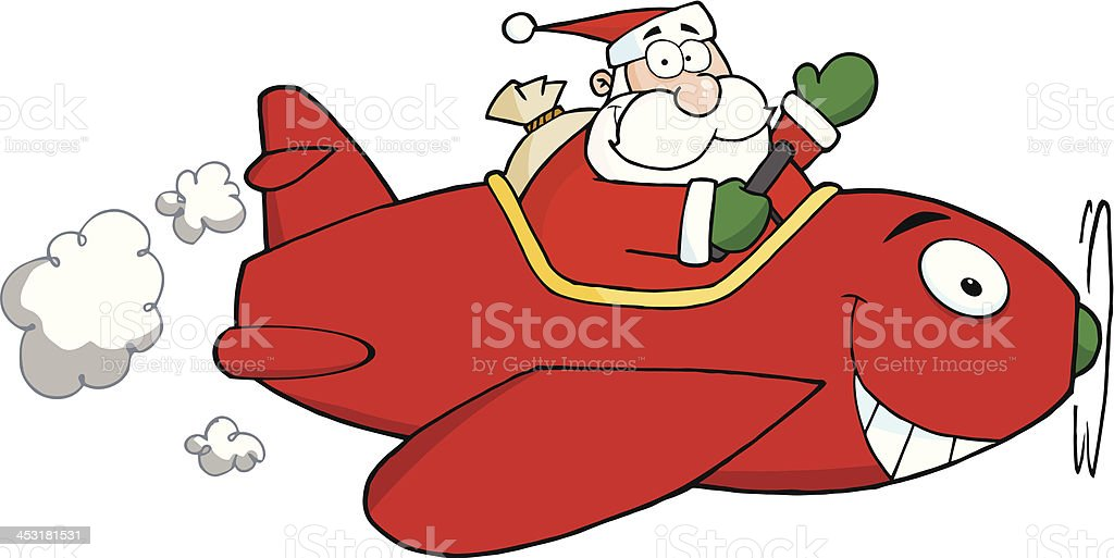 Santa Flying With Christmas Plane royalty-free stock vector art