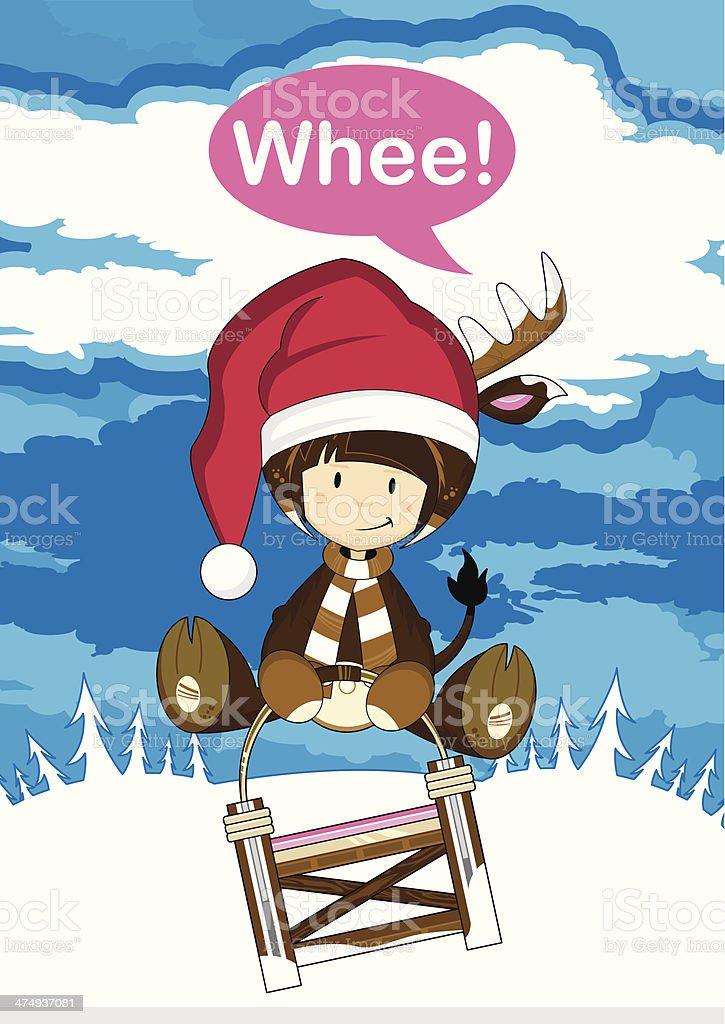 Santa Girl in Reindeer Costume on Sledge royalty-free stock vector art