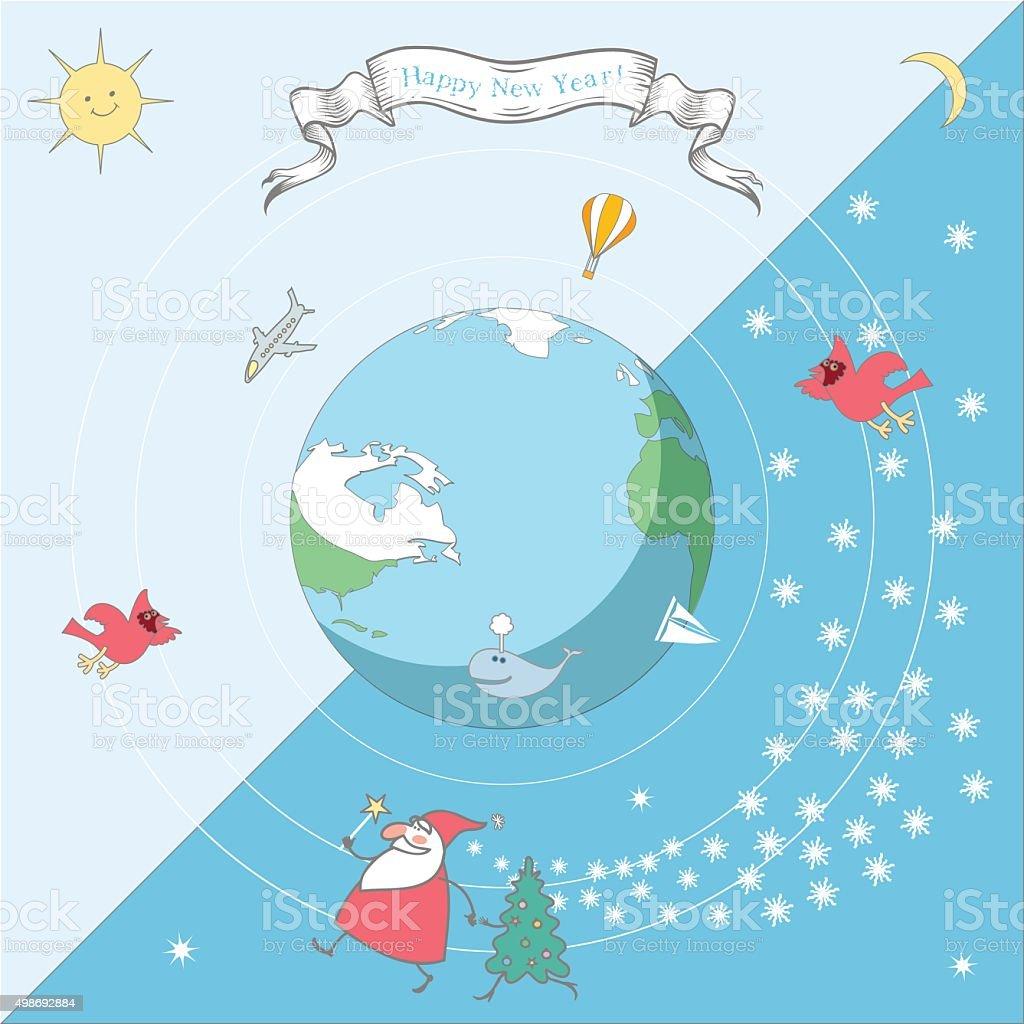 Santa goes around the world vector art illustration