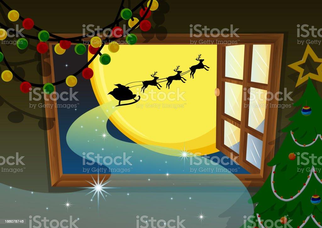 santa going in reindeer vehicle royalty-free stock vector art