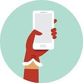 Santa hand holding smartphone