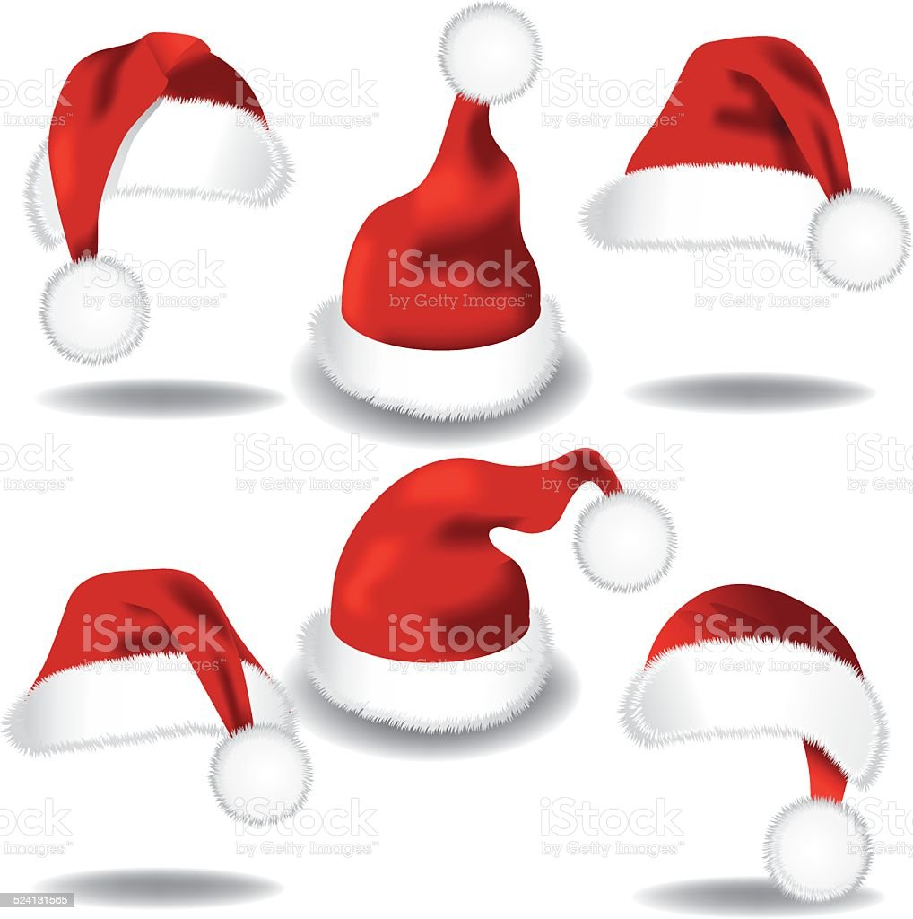 Santa hat collection isolated on white vector art illustration