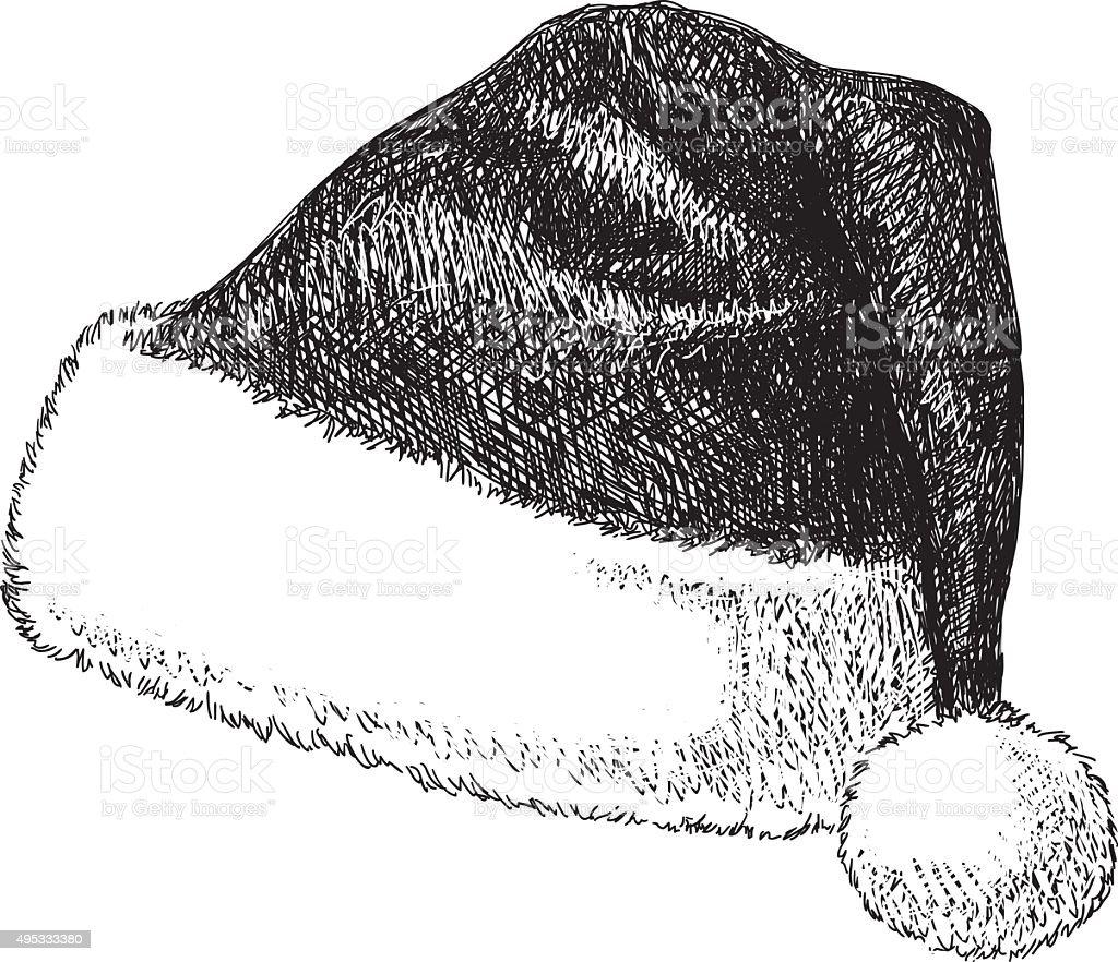 Santa Hat Drawing vector art illustration