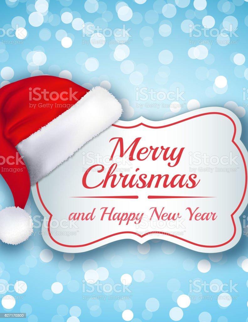 Santa hat on Christmas Banner vector art illustration