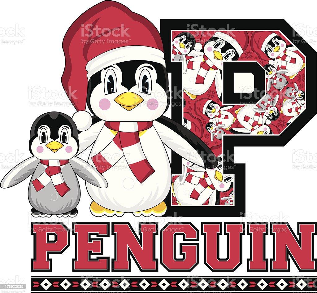 Santa Hat Penguin Learning Letter P royalty-free stock vector art