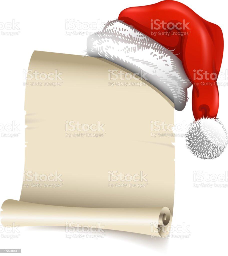 santa hat with wish list vector art illustration