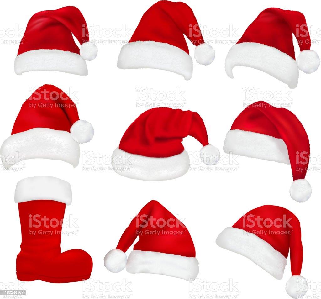 Santa Hats vector art illustration