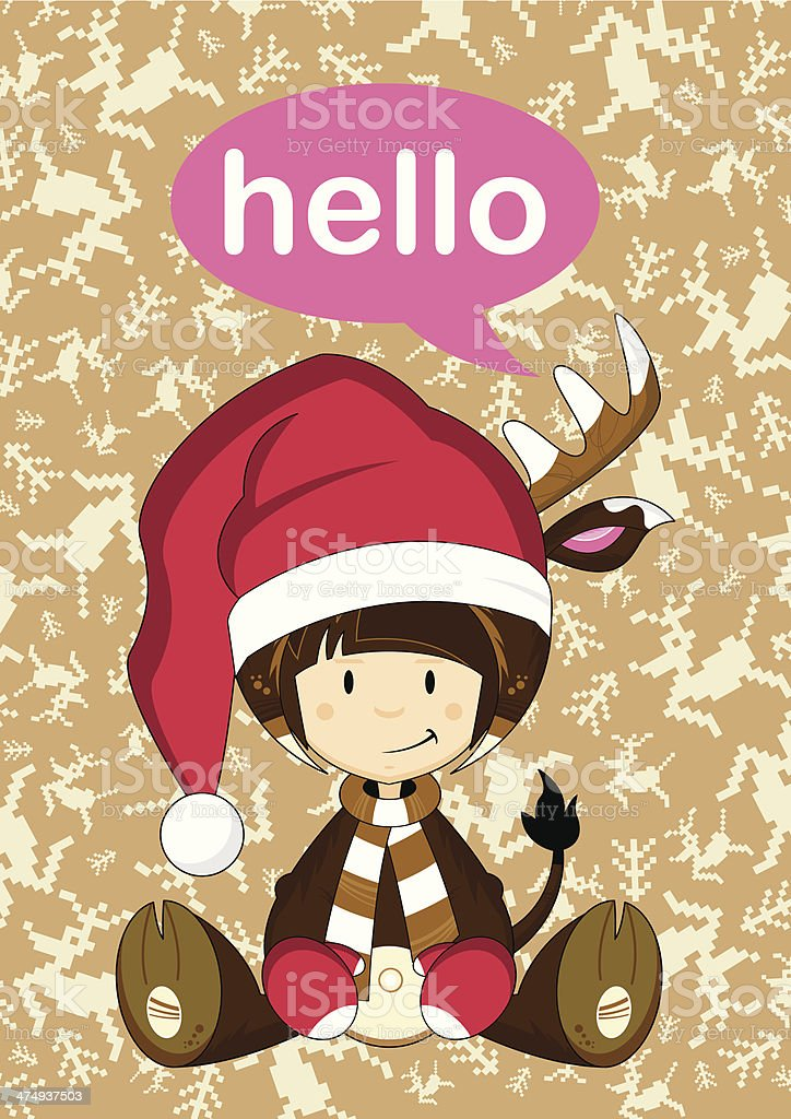 Santa 'Hello Reindeer Girl royalty-free stock vector art