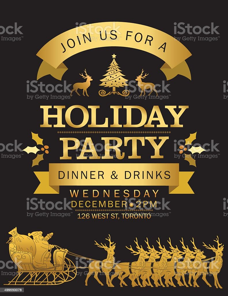 Santa & His Reindeer Christmas Eve Holiday Party Invitation vector art illustration