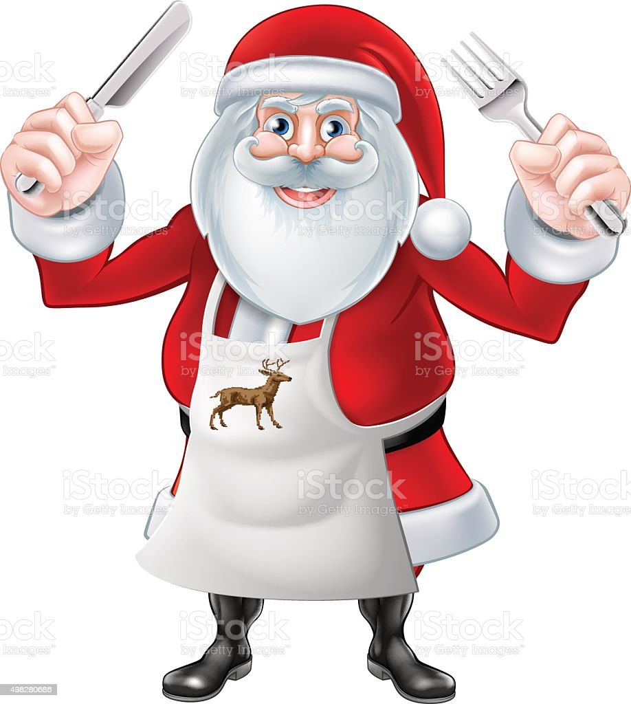 Santa Holding Knife and Fork vector art illustration