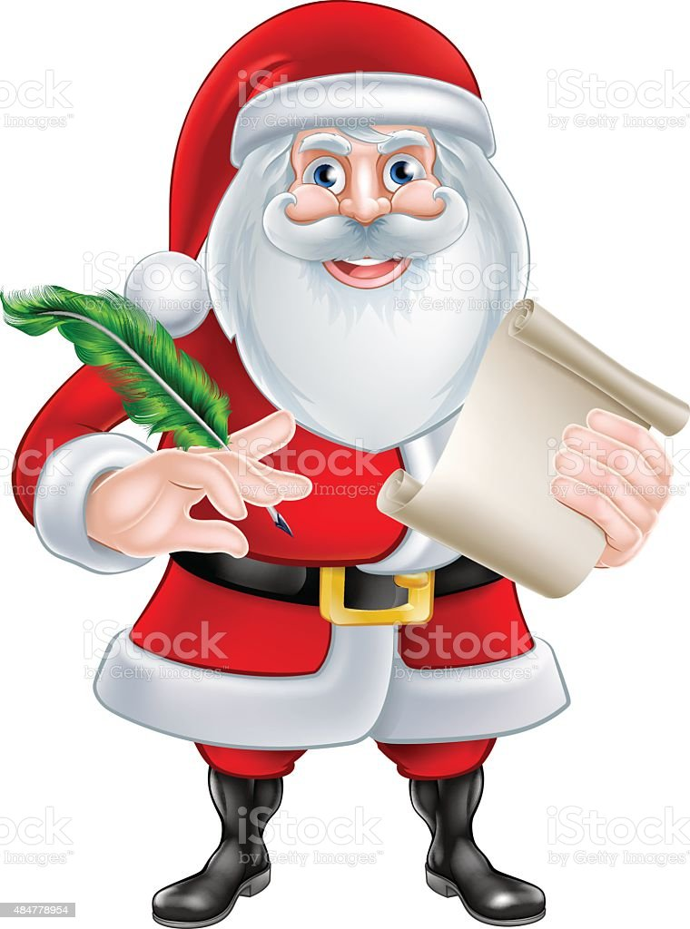 Santa Holding Scroll and Quill vector art illustration