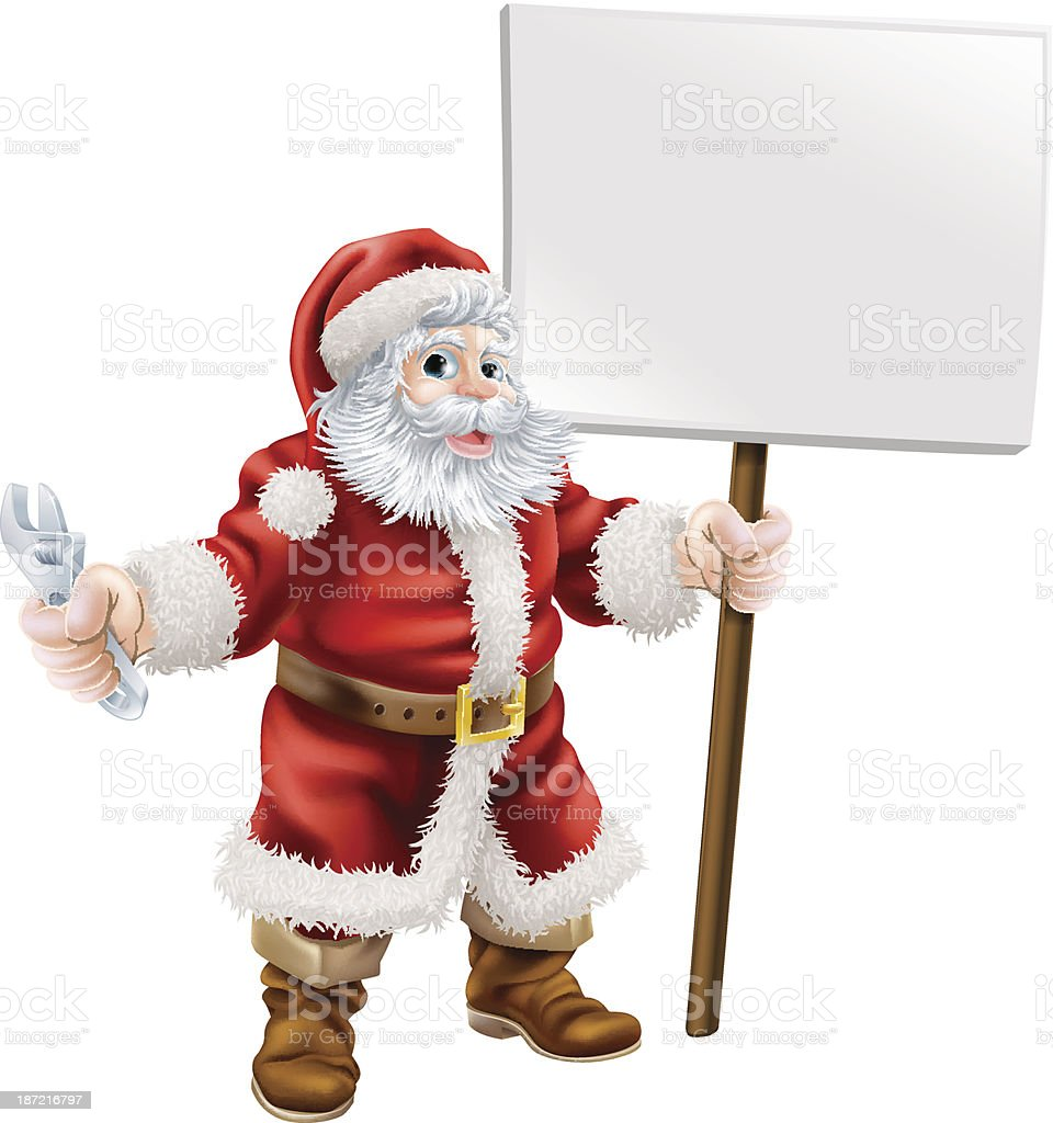 Santa holding spanner and sign royalty-free stock vector art