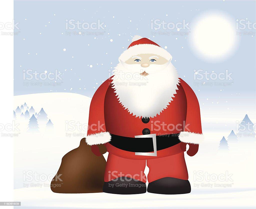 Weihnachtsmann im Schnee Landschaft Lizenzfreies vektor illustration