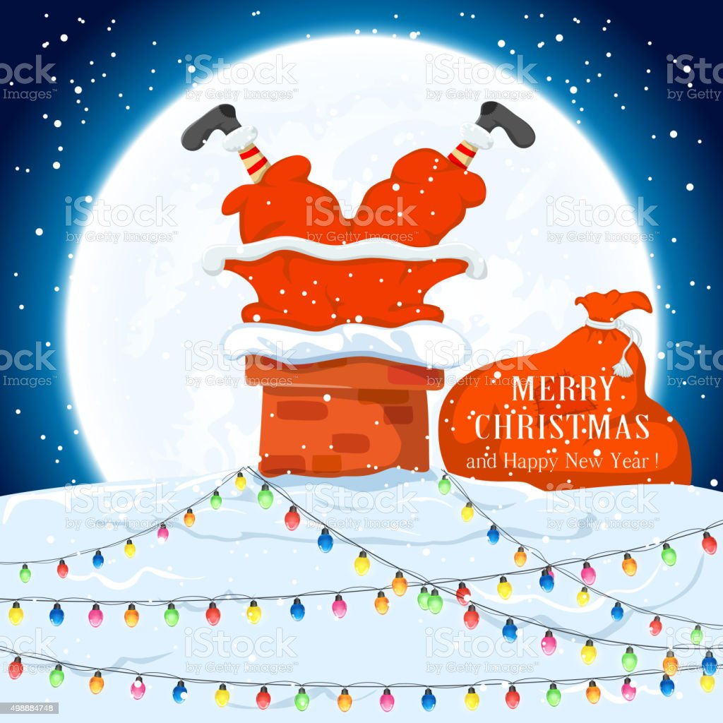 Santa in the chimney on the roof vector art illustration