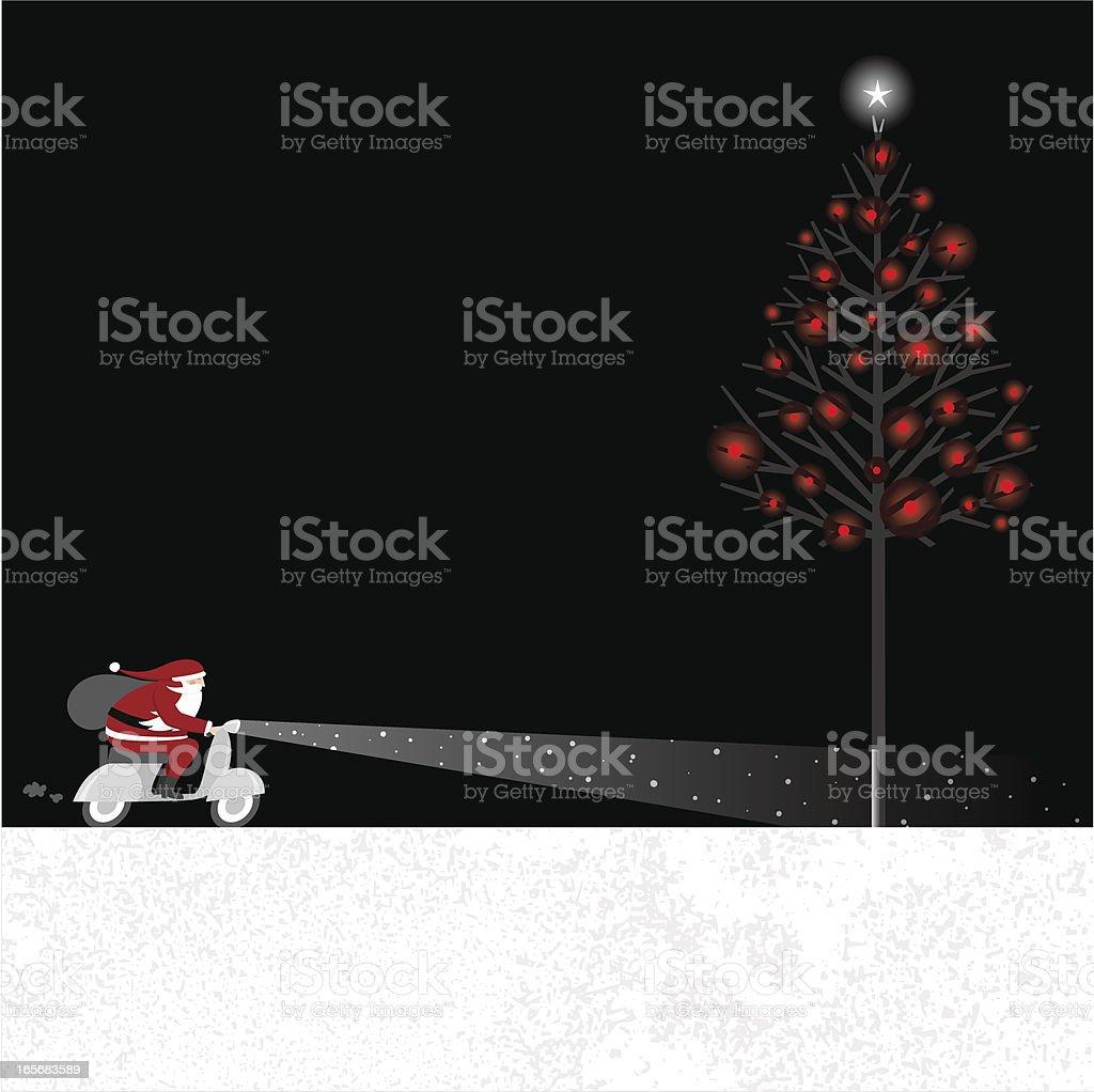 Santa in the night royalty-free stock vector art